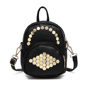 gold studs on black mini backpack front view edgability