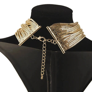 gold choker layered necklace edgability back view