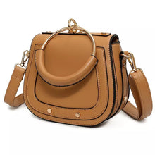 tan studded bag with hoop edgability angle view