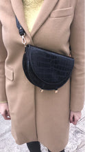 semi circle classy croc skin black bag sling bag edgability model view