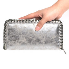 silver wallet metallic wallet with chain edgability model view
