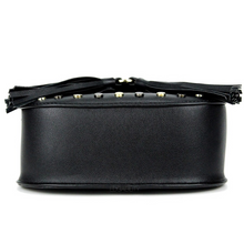 studded black bag with tassels bottom view edgability