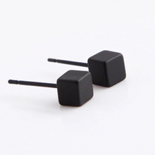tiny cube black earrings edgability