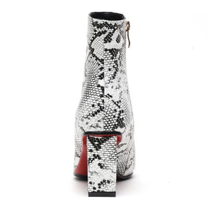 snakeskin boots ankle boots heeled boots edgability back view