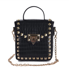 black croc skin studded bag with handle Edgability