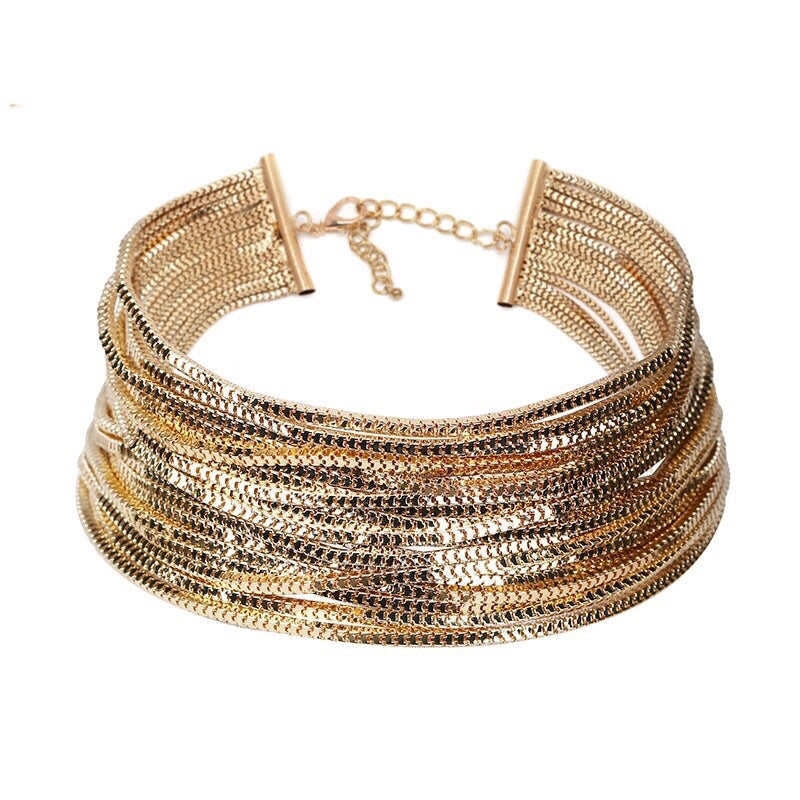 gold choker layered necklace edgability