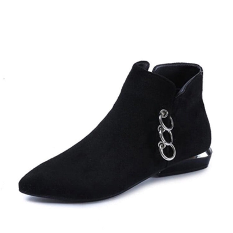 ankle boots black boots silver cut heel edgability