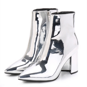 silver booties with block heel edgability