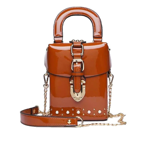 patent leather box bag studded bag sling bag edgability