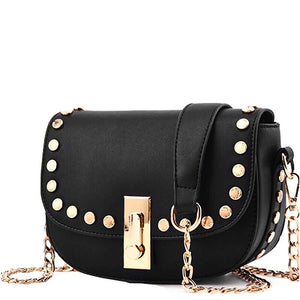 black gold studded handbag angle view edgability