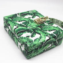 travel bag box bag tropical print edgability top view
