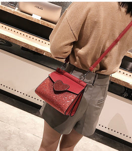 glitter bag red bag edgability model view