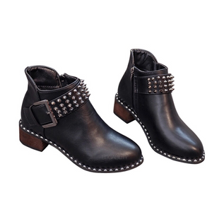 rivets buckle black boots edgability
