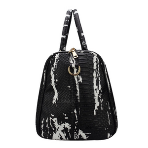 black and white bag marble travel bag edgability side view