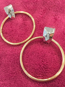 rose gold hoops silver earrings edgability top view