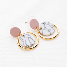 pink drop white marble earrings with gold hoop edgability