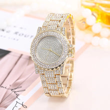 crystals studded diamonte gold watch edgability front view