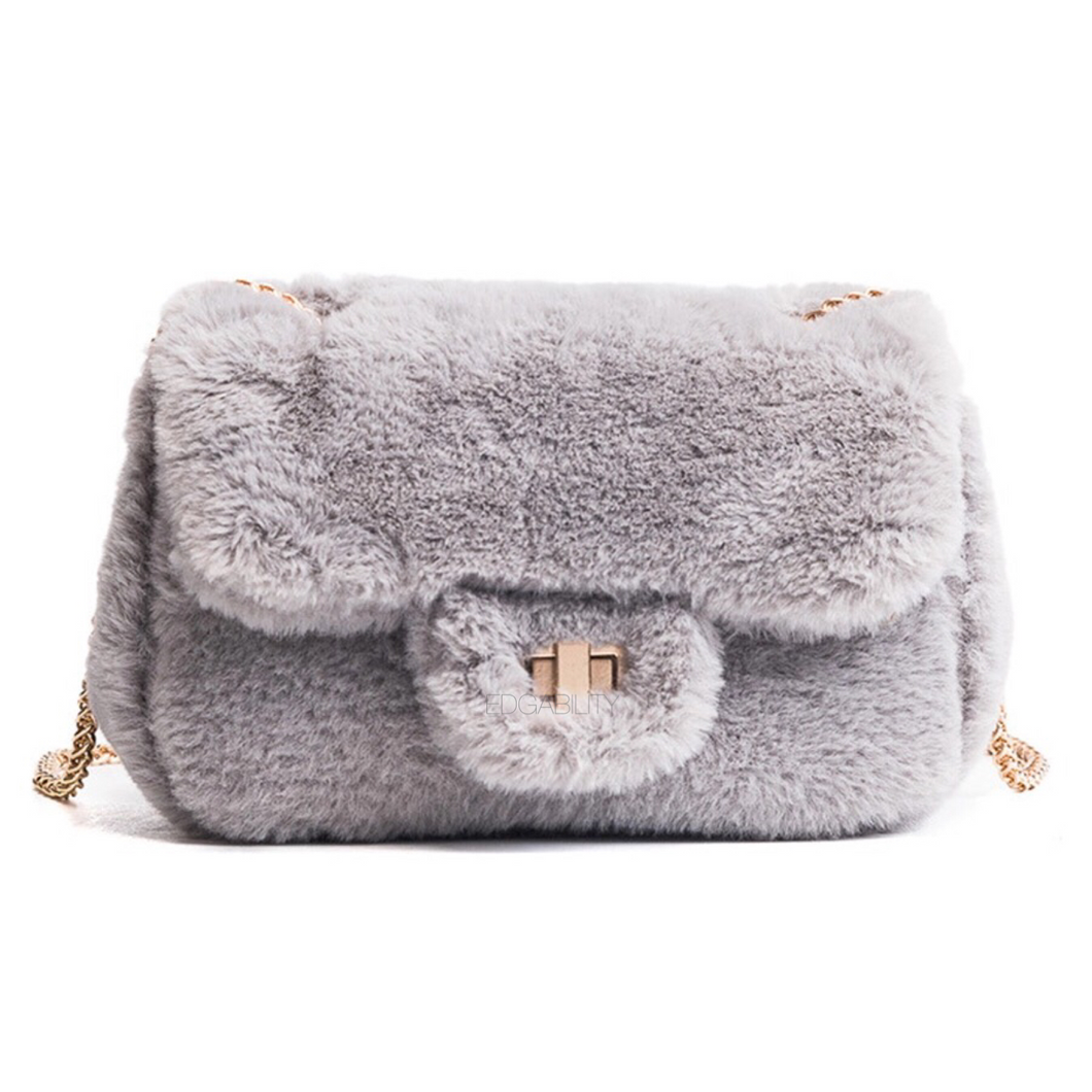 grey fur bag edgy fashion edgability