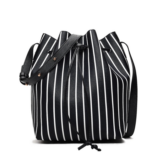 striped black drawstring bucket bag edgability