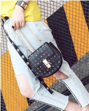 multicoloured studded bag black bag edgability model view