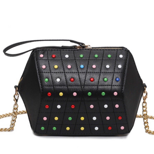 hexagonal studded black bag edgability