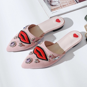 pink flats with red lips and crystal stones top view edgability