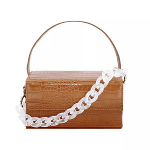 brown croc skin clutch box bag with chain strap edgability