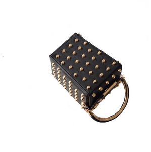studded bag box bag black bag edgability top view