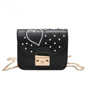 silver spikes studded heart black bag front view edgability