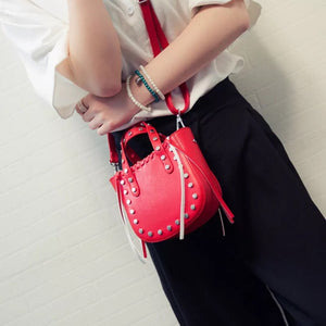 open red bucket bag silver studs model view edgability