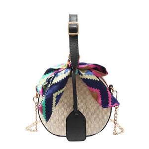 straw rattan bag black box bag with scarf edgability front view