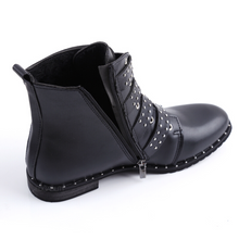 studded boots black boots edgability angle view
