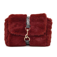 glitter strap red fur bag edgability