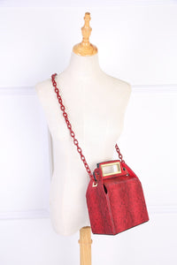 box bag snakeskin bag red bag bucket bag edgability model view