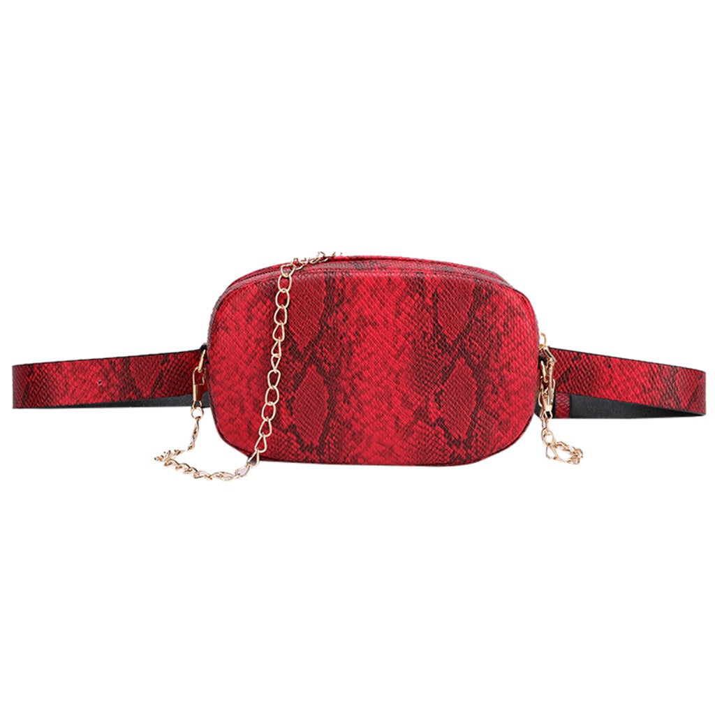 red snakeskin belt waist bag edgability