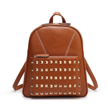 studded tan brown backpack edgability