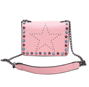 pink star studded sling bag with rivets edgability