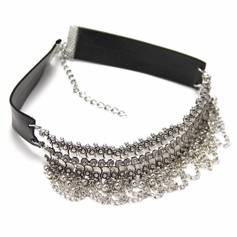 leather silver choker ethnic edgability