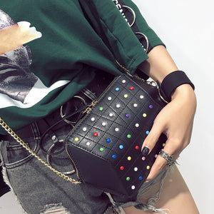 hexagonal studded black bag edgability model view