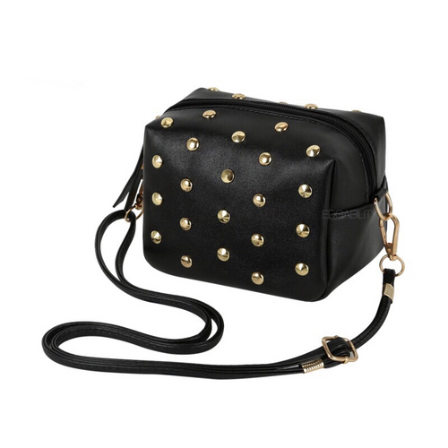 gold toned studs on crossbody bag angle view edgability