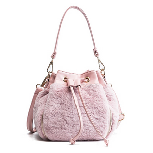 fur bag pink bag drawstring bag edgability