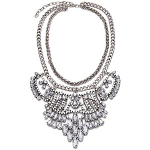 silver metal and crystals statement necklace edgability