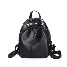 edgability silver studded black mini backpack angle view