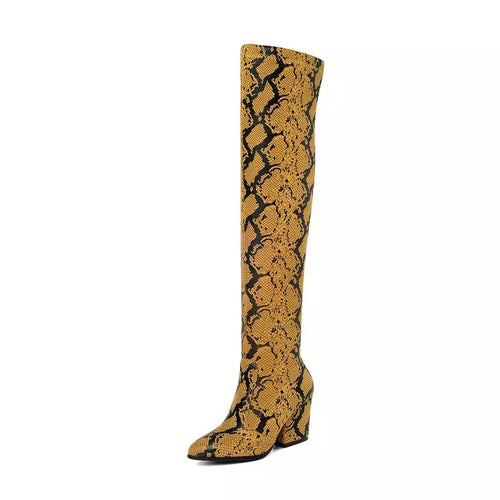 tan brown knee high snakeskin boots edgability