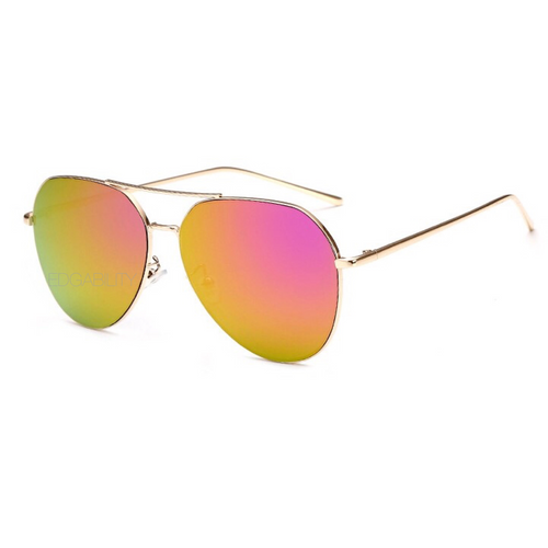 chrome sunglasses with gold frames angle view edgability