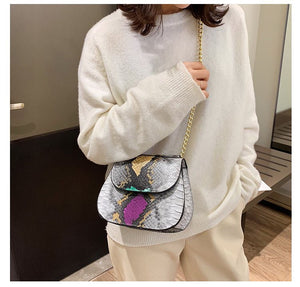 classy grey snakeskin bag edgy fashion edgability model view