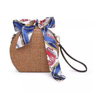 rattan bag round bag box bag wristlet with scarf edgability