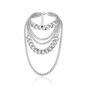 silver chains layered statement necklace edgability