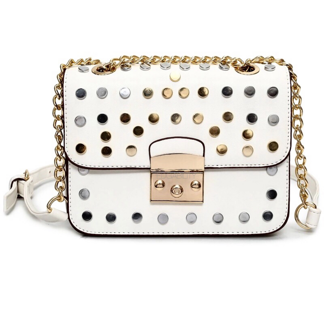 gold silver studded white bag front view edgability