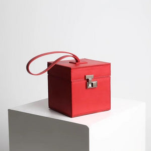 classy red leather box bag edgability full view